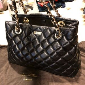Kate Spade Quilted Satchel Tote Handbag Black